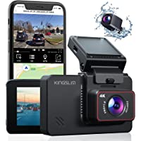 """Kingslim D4 4K Dual Dash Cam with Built-in WiFi GPS, Front 4K/2.5K Rear 1080P Dual Dash Camera for Cars , 3"""" IPS…"""