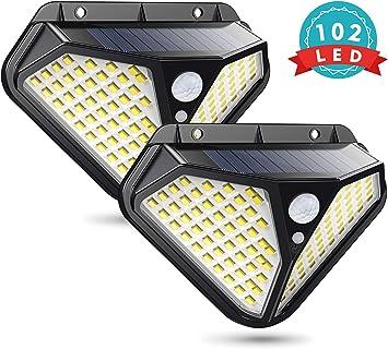 Cocoda 2 Pack Luz Solar Exterior con 102 Leds, Focos Solares ...