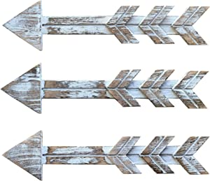 Hangdii Rustic Wood Arrow Wall Decor, Set of 3 Distressed Farmhouse Wood Arrow Sign Decoration, Wall Mounted Decorative Hanging Arrow for Home or Wedding, 15