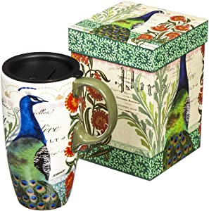 Cypress Home Boxed Ceramic Latte Travel Cup 17oz, Proud Peacocks