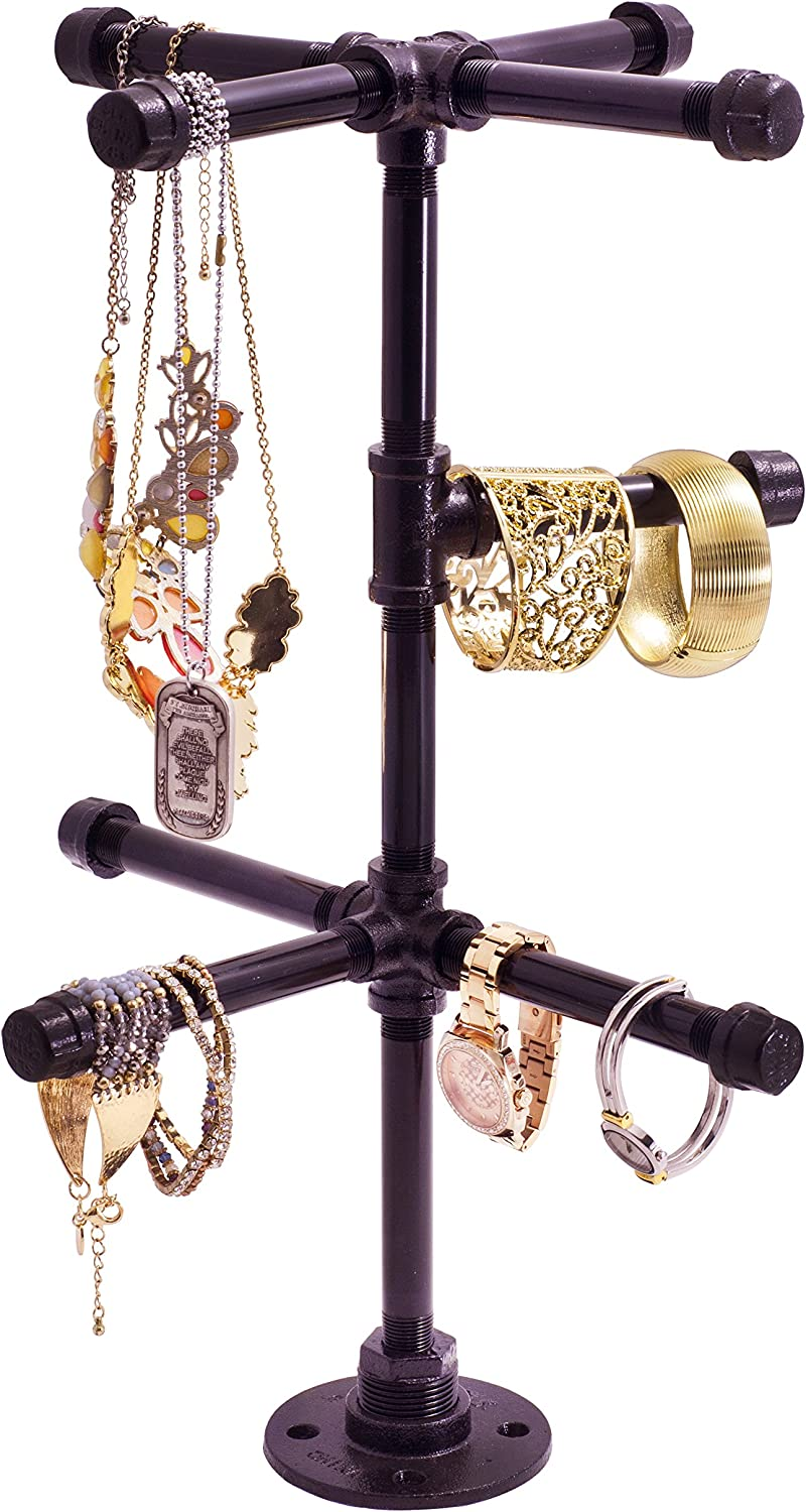Chic Industrial Tabletop Jewelry Tree by Pipe Decor Rustic DIY Style Stand for Hanging Necklaces, Chains, Watches and Bracelets, Display and Organize Items for Easy Access, Made of Black Metal Pipe