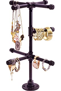 10d2225bb Chic Industrial Tabletop Jewelry Tree by Pipe Decor Rustic DIY Style Stand  for Hanging Necklaces,