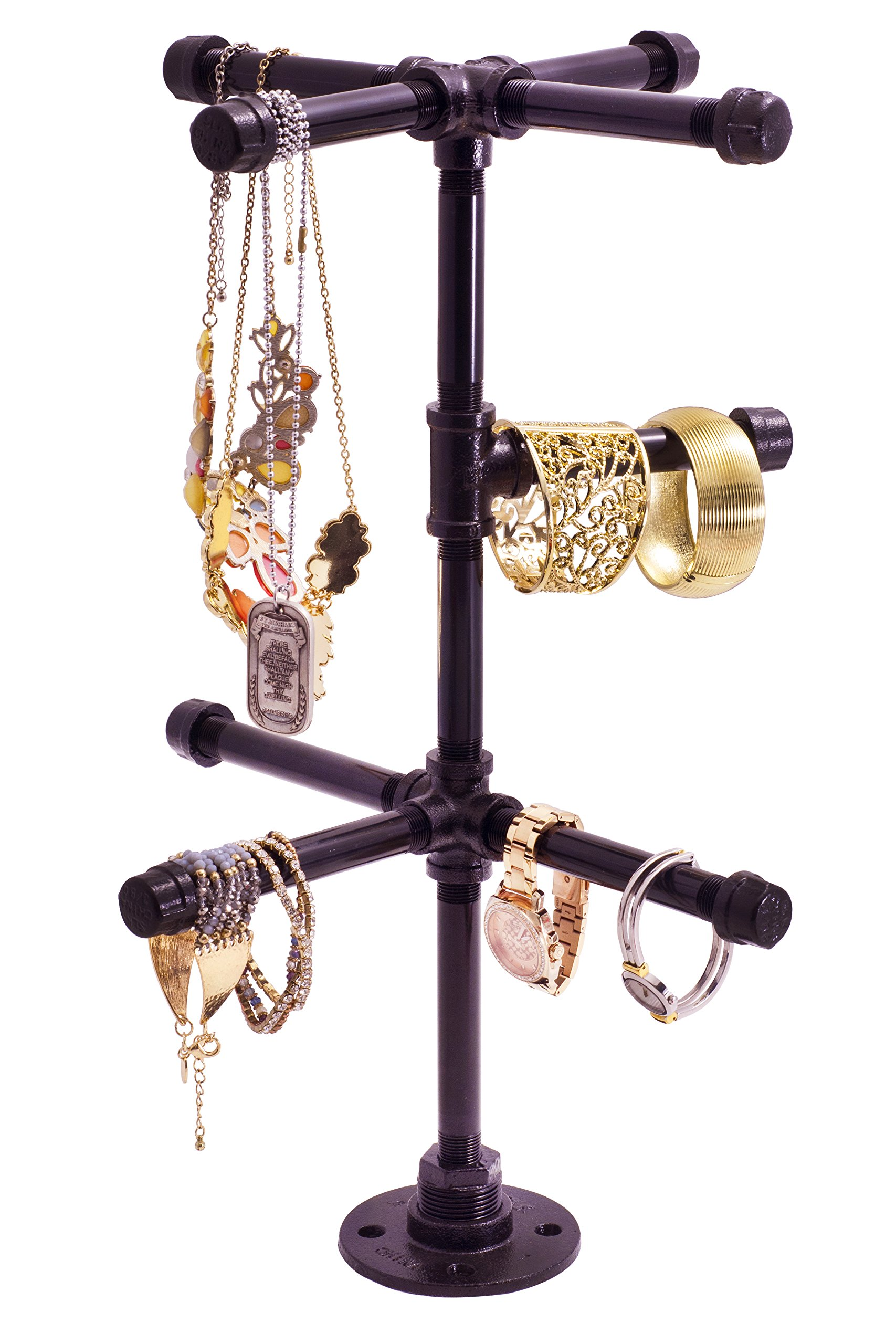 Chic Industrial Tabletop Jewelry Tree by Pipe Decor | Rustic DIY Style Stand for Hanging Necklaces, Chains, Watches and Bracelets, Display and Organize Items for Easy Access, Made of Black Metal Pipe