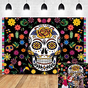 Dia De Muertos Sugar Skull Bones CANVAS Print Calaca Dalia Flowers Signed