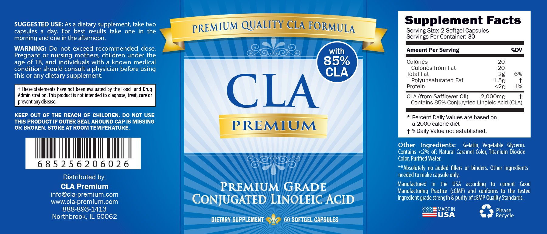 CLA PREMIUM: 100% PURE Conjugated Linoleic Acid - 2000mgs - 60 Capsules - 1 Month Supply - Natural Weight Loss Management - 90 Days 100% Money Back Guarantee - 85% CLA from Safflower Oil by CLA Premium (Image #5)