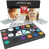 Colori per Pittura Viso Arteza, Set da 16 Pigmenti Non Tossici per Body Painting, Kit Completo Truccabimbi Non Tossico
