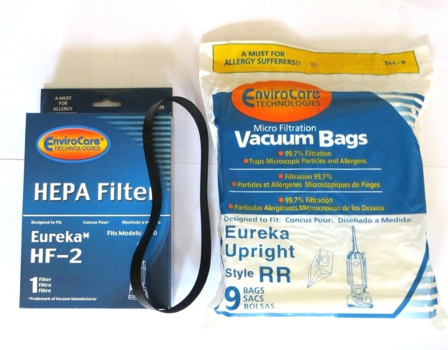 Eureka RR Micro Filtered Vacuum set (9 bags & 1 R belts & 1 hf2 filter)