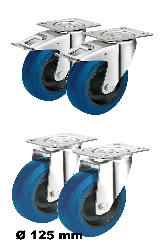 Set mit 4 Rollen lenkbar /Ø 80mm je 2 Lenkrollen mit Feststell-Bremsen sowie 2 Lenk-Rollen ohne Feststeller als Transportrollen Lager Kugellager Rollenlager blau Rolle 80 mm
