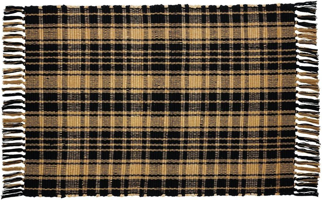Olivia's Heartland Heritage Check Black Rectangle Rug