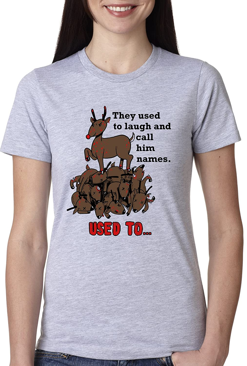 Amazon.com: Women's Rudolph the Psychopath Reindeer T Shirt Funny ...