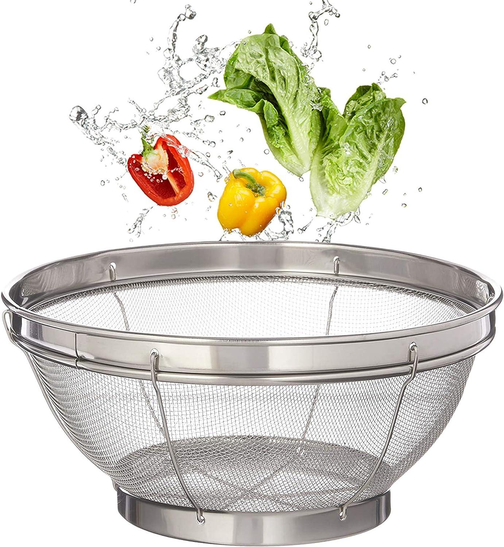 Mesh Colander Strainer Basket,Stainless Steel Colander,Food Mesh Colanderfor Kitchen Straining,Draining,Salad,Noodles -10 x 4 Inches