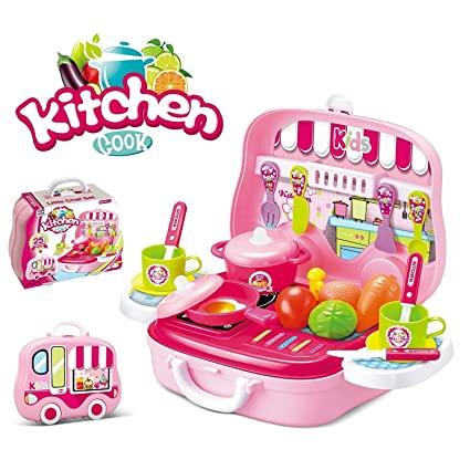 Buy Magnificotmkitchen Set Toy For Girls With Wheel Carry Case