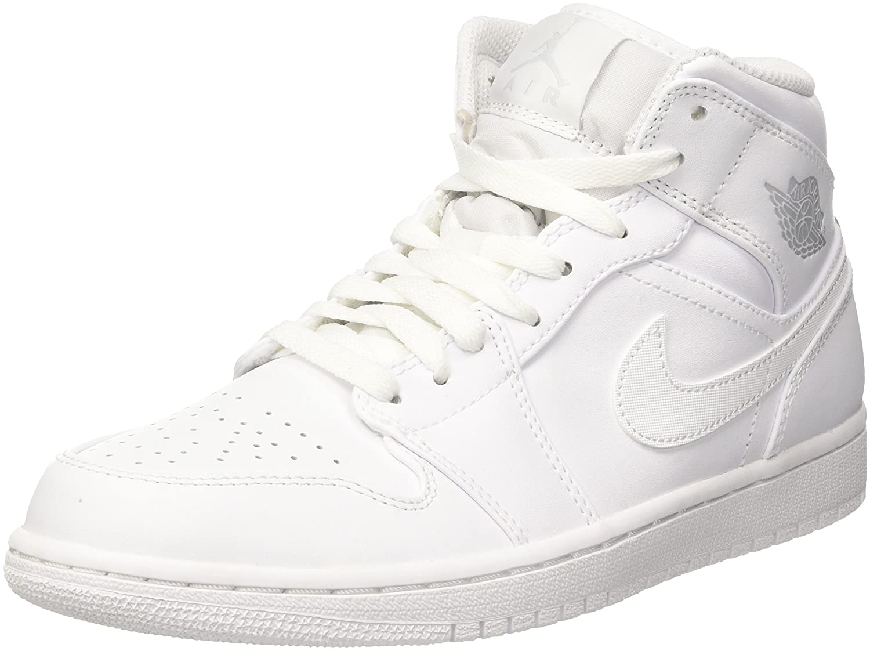 Air Jordan 1 Mid White//Pure Platinum White Mens 554724-104