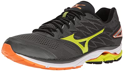 detailed look 27df5 fe4ee Mizuno Running Men s Wave Rider 20 Running Shoes, Dark Shadow Lime  Punch Vibrant