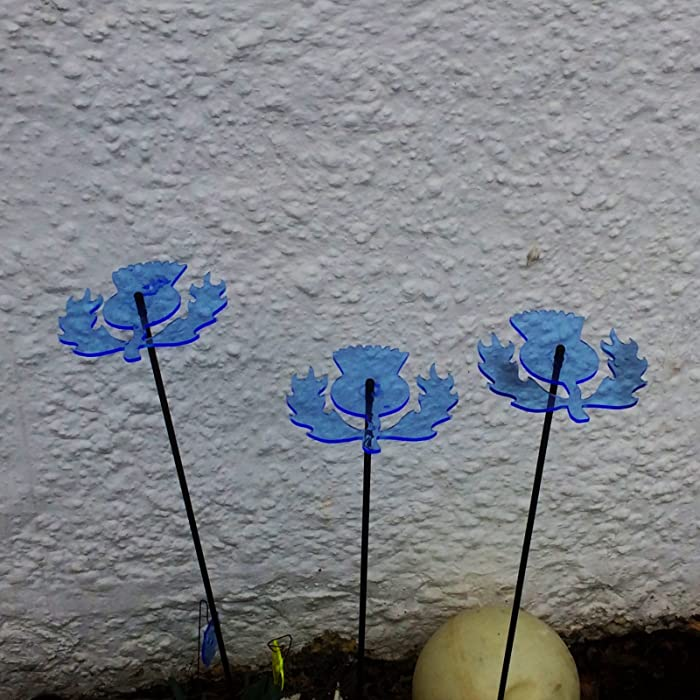 SunCatcher Set of 3: Scottish Thistle | 150mm / 5,9'' Ø Fluorescent Garden Ornament | Glowing Garden Decoration on Stick | Innovative Home Decor for Outdoor Garden Balcony Pathway, Colour:Blue