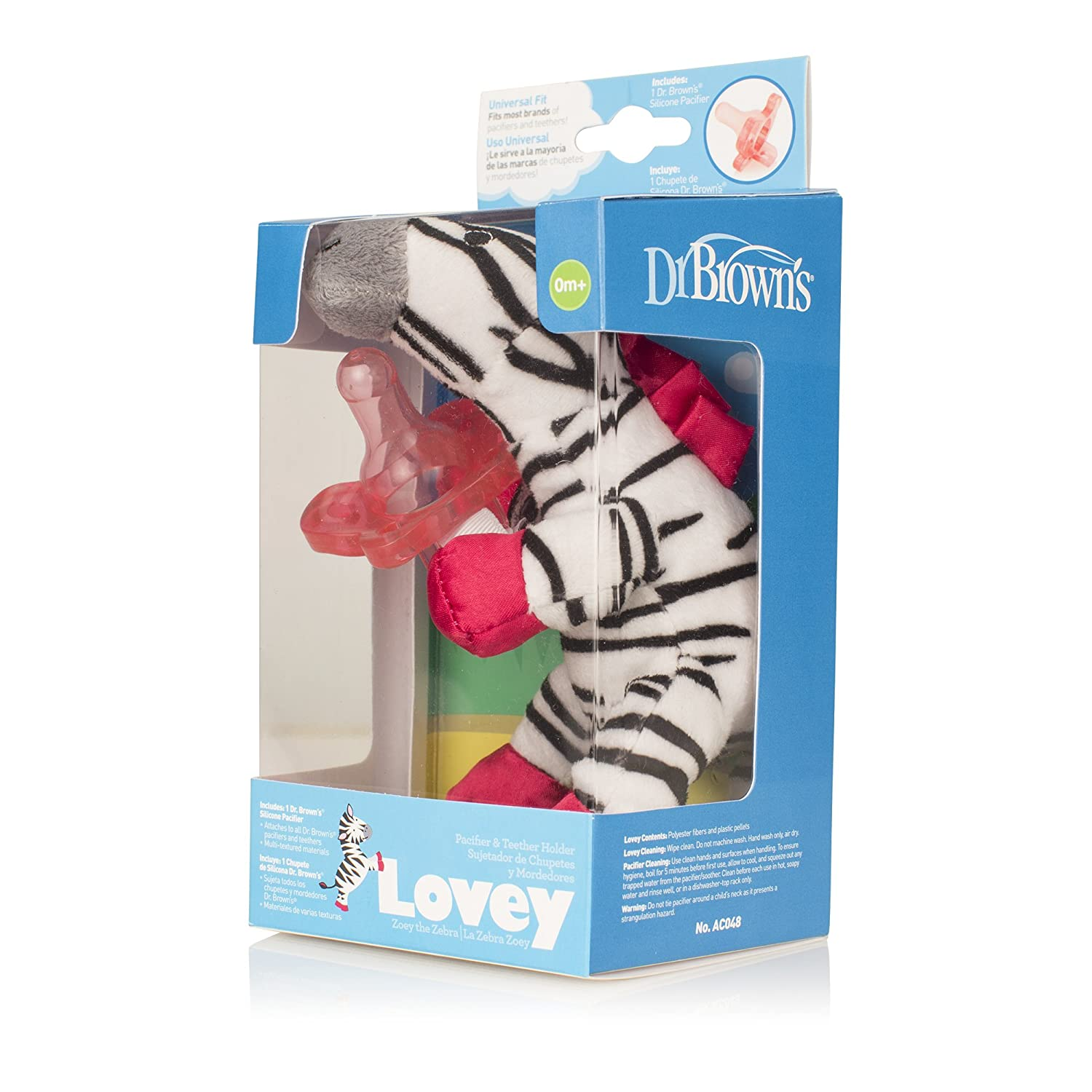 Dr. Browns Lovey Pacifier and Teether Holder, 0 Months Plus, Zebra with Pink Pacifier