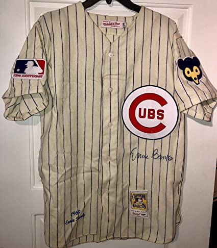 9ad357f5053 Image Unavailable. Image not available for. Color: Signed Ernie Banks Jersey  - Mitchell Ness MN HOF 1969 ...