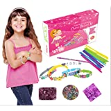 Kidtastic Bracelet Making Kit – DIY Kits for Girls – Makes 12 Bracelets – Super Fun, No Mess, No Glue & No Tools! – Best Christmas / Birthday Gift – Cool Craft Set with Letters, Flowers, & Charms