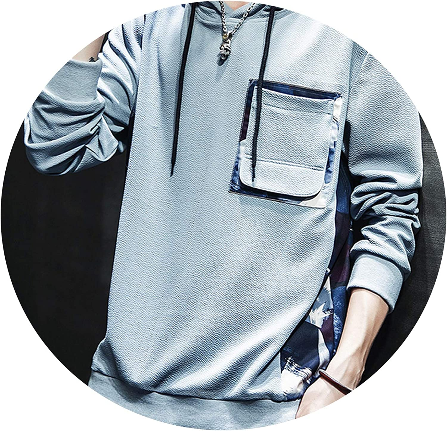 Fashion Hoodie Men Long Sleeved Round Neck Solid Color Tops Mens Hoodies