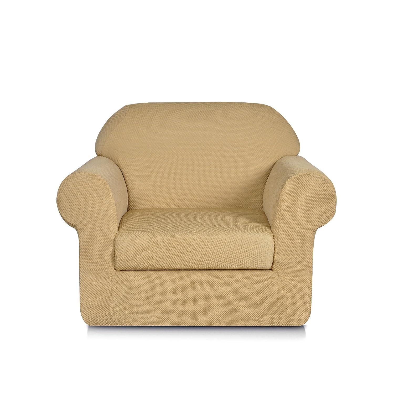 Joywell 2ピース ジャカード織り ストレッチ生地 ソファ スリップカバー Chair ベージュ Chair ベージュ B07FPGFSJN