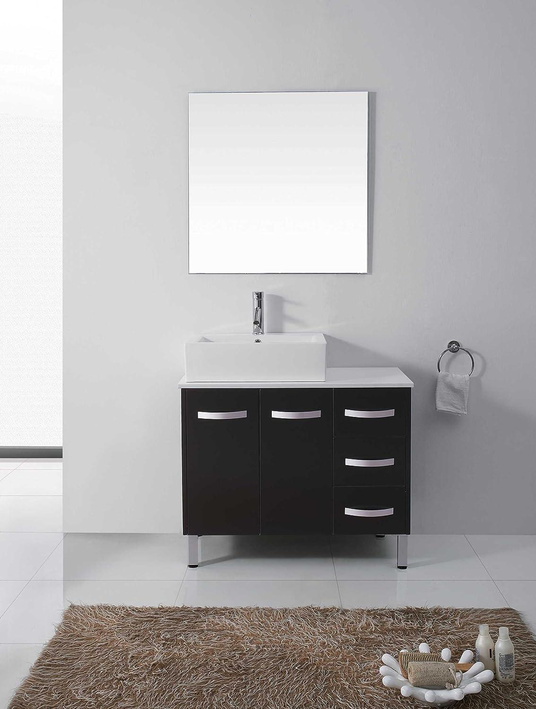 virtu usa um3069sbl tilda 40inch single sink bathroom vanity set with white stone countertop ceramic basin chrome faucet black finish amazoncom