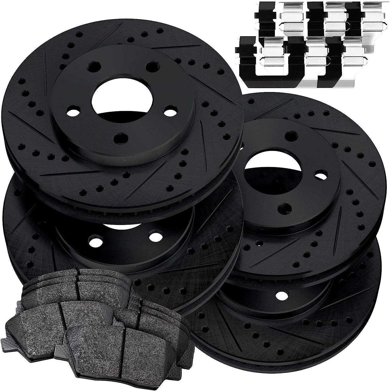 Amazon Com Fit 2016 2019 Honda Civic Black Full Kit Brake Rotors Kit Ceramic Brake Pads Automotive