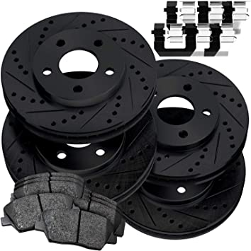 FULL KIT PowerSport Black Drilled Slotted Rotors and Ceramic Pads BBCC.61123.02