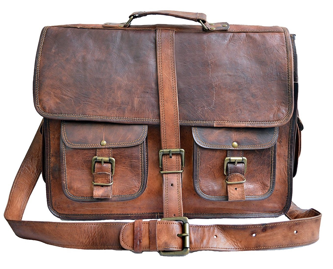 29f6aed302 Znt bags 15 Inch Vintage Handmade Leather Messenger Bag Laptop Briefcase  Satchel Bag  Amazon.in  Bags