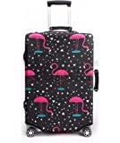 Periea Premium 3mm Elasticated Suitcase Luggage Cover - 38 Different Designs - Small, Medium or Large (Black & Pink with…