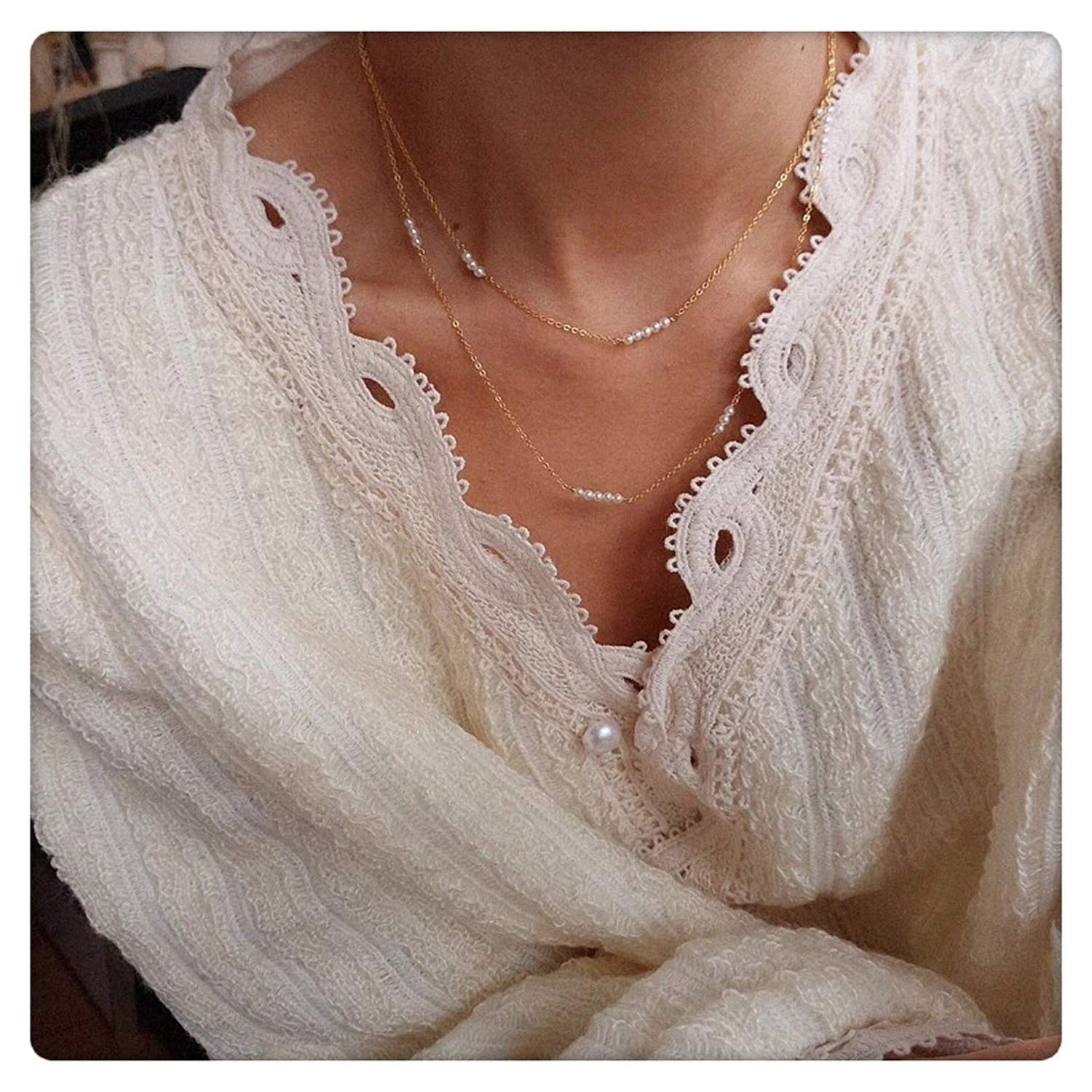 SEAYII Women Layered Necklace Choker Gold Initial Bar Pearl Dainty Chain 14K Gold Fill 2 Layer Boho Beach Simple Delicate Handmade Gold Jewelry Gift