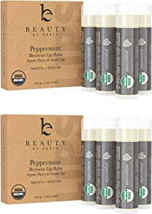 Organic Lip Balm Peppermint - 8 Pack of Natural Lip Balm, Lip Moisturizer, Lip Treatment for Dry Lips, Lip Care Gifts for Women or Men, Lip Repair, Organic Chapstick for Soft Lips, Stocking Stuffers