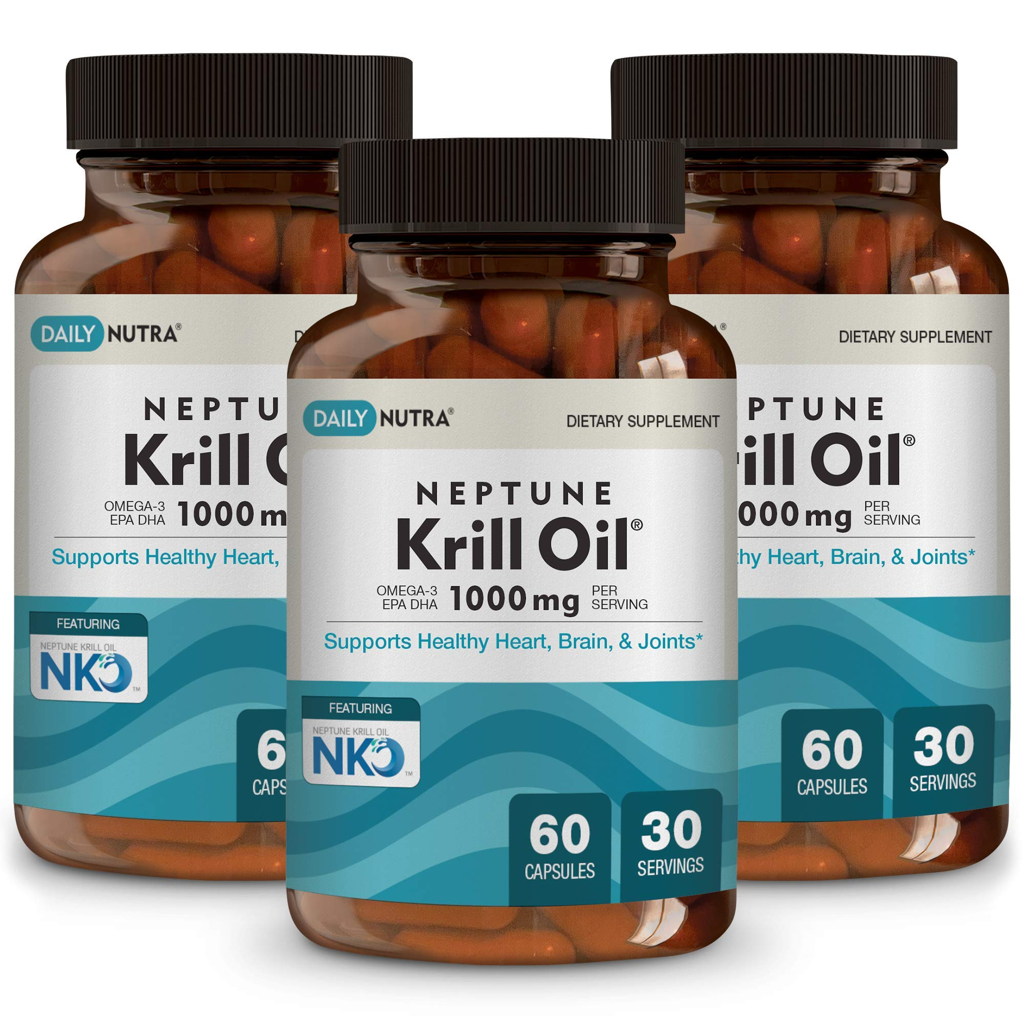 Neptune Krill Oil 1000mg High Absorption Omega-3 EPA DHA & Astaxanthin. Pure and Sustainable. Clinically Shown to Supports Healthy Heart, Brain and Joints (3-Pack, 90 Total Servings) by DailyNutra