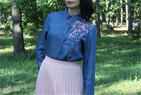 Jeremy Martin Long Sleeve Embroidery Floral Jeans Shirt Women Denim Blouse Fashion Office Casual Tops at Amazon Womens Clothing store: