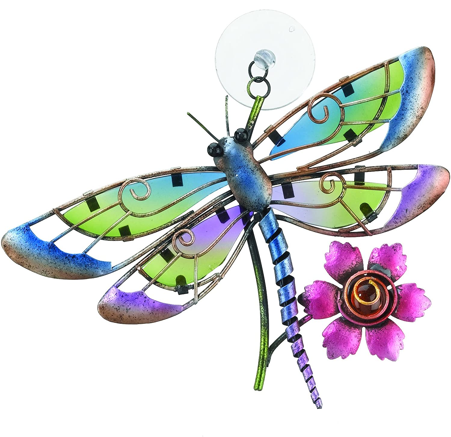 suncatcher glass and metal dragonfly