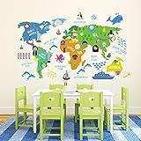 """Walplus """"Mappa del mondo"""", per cameretta bambini, rimovibile, motivo: adesivi da parete autoadesivi, multicolore, 180 x 106 cm"""