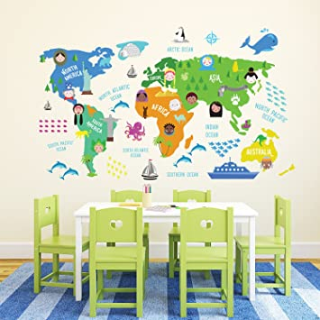 Walplus educational nursery world map removable self adhesive walplus quoteducational nursery world mapquot removable self adhesive wall stickers murals nursery gumiabroncs Choice Image