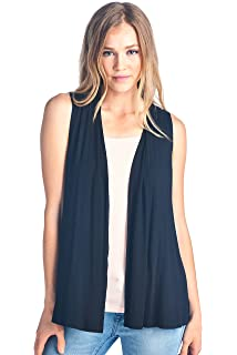 bf040c5572b3e8 Extra Soft Solid Sleeveless Bamboo Vest Cardigan Sweater for Women -Made in  USA
