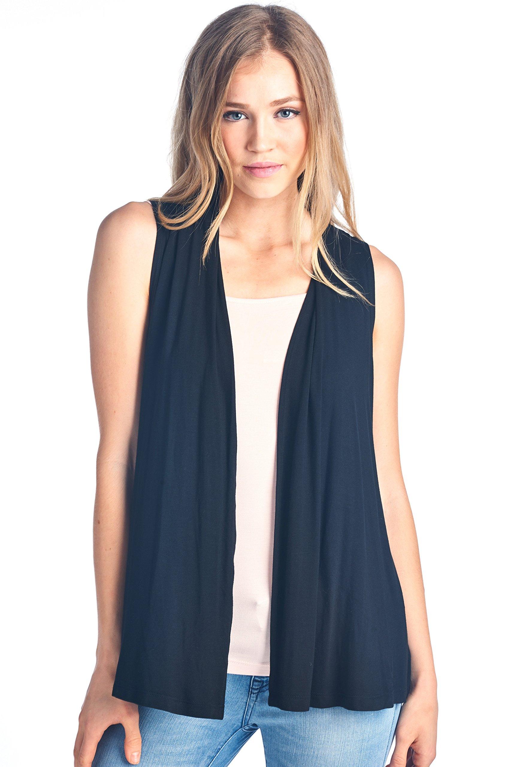 ReneeC.. Women's Extra Soft Natural Bamboo Sleeveless Cardigan - Made in USA (Large, Black)