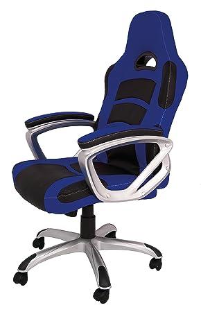 La Silla Española Luanco Silla de Oficina Gaming con Reposabrazos, Piel Sintética, Azul y Negro, 50x48x127 cm: Amazon.es: Hogar