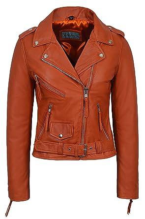 fd49f4e2ca3  Classic Brando Ladies Orange Biker Style Motorcycle Real Soft Nappa Leather  Jacket (US 4