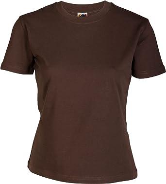 Emilio Fernández Camiseta Mujer 100% ALGODÓN MARRÓN: Amazon.es: Ropa y accesorios