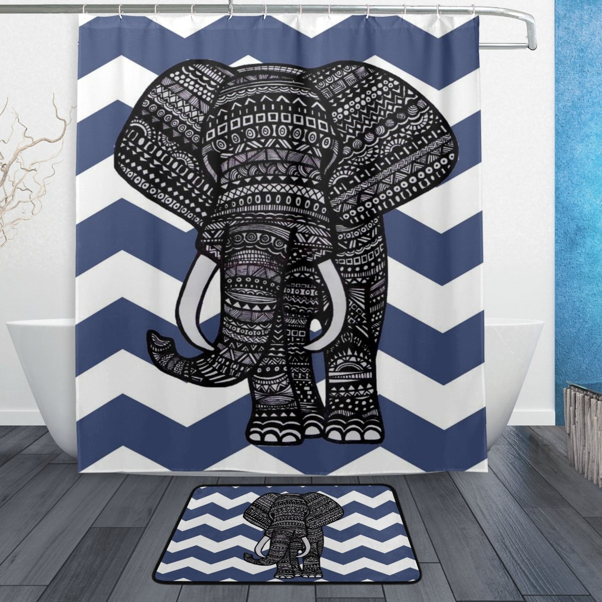 BAIHUISHOP Navy Blue Chevron Aztec Elephant PatternMachine Washable for Everyday Use,Includes 60x72 Inch Waterproof Shower Curtain, 12 Shower Hooks and 1 Non-slip Bathroom Rug Carpet