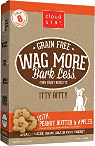 Cloud Star Wag More Bark Less, Grain Free Itty Bitty, Crunchy Biscuit Dog Treats, Made in USA