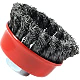 Forney 72757 Wire Cup Brush, Knotted with 5/8-Inch-11 Threaded Arbor, 2-3/4-Inch-by-.020-Inch