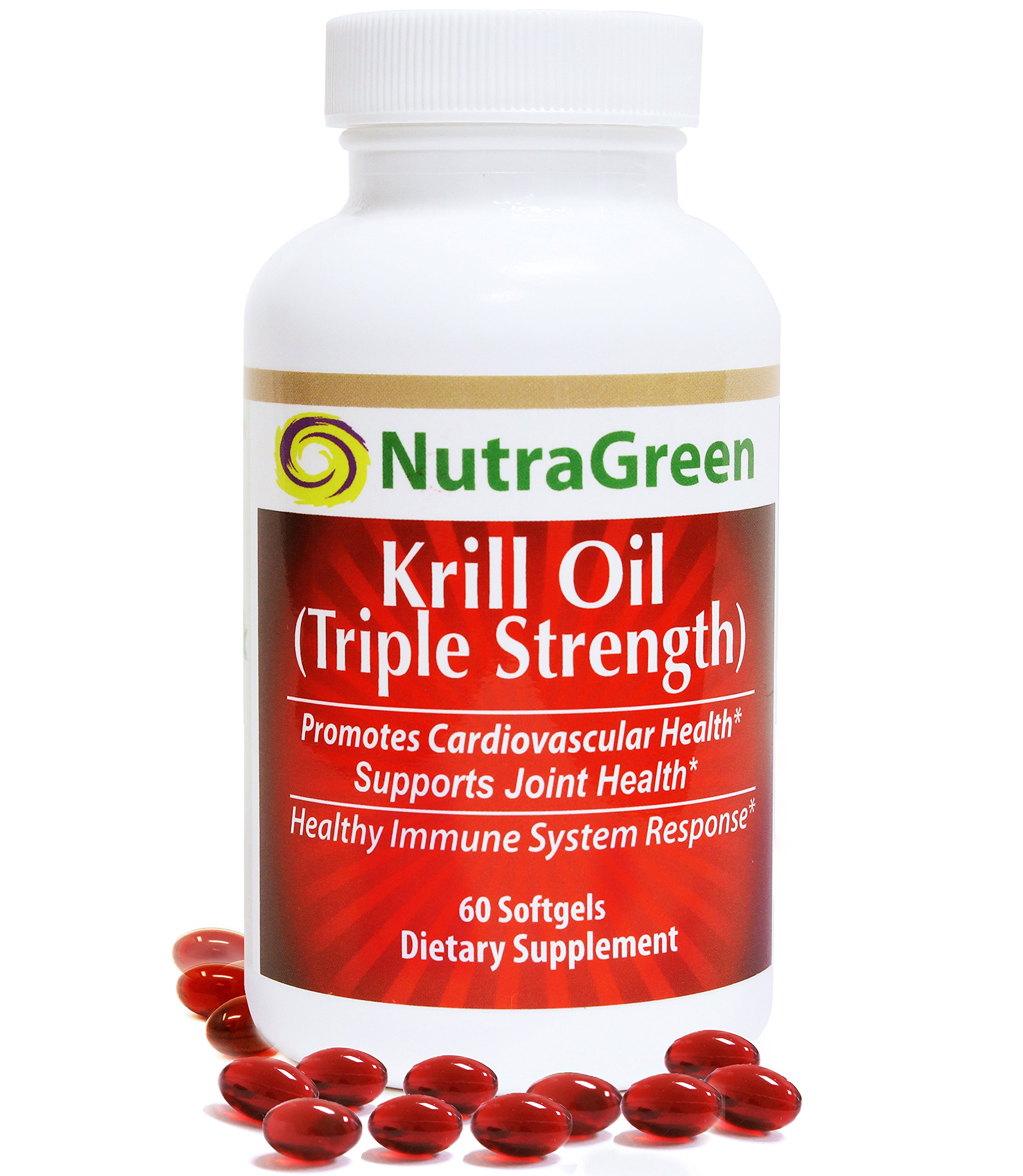 NutraGreen Antarctic Krill Oil 1000mg with Astaxanthin/Omega-3/Phospholipids Suports Heart, Joint and Immune Health, 60 Softgels | No Aftertaste Or Burps