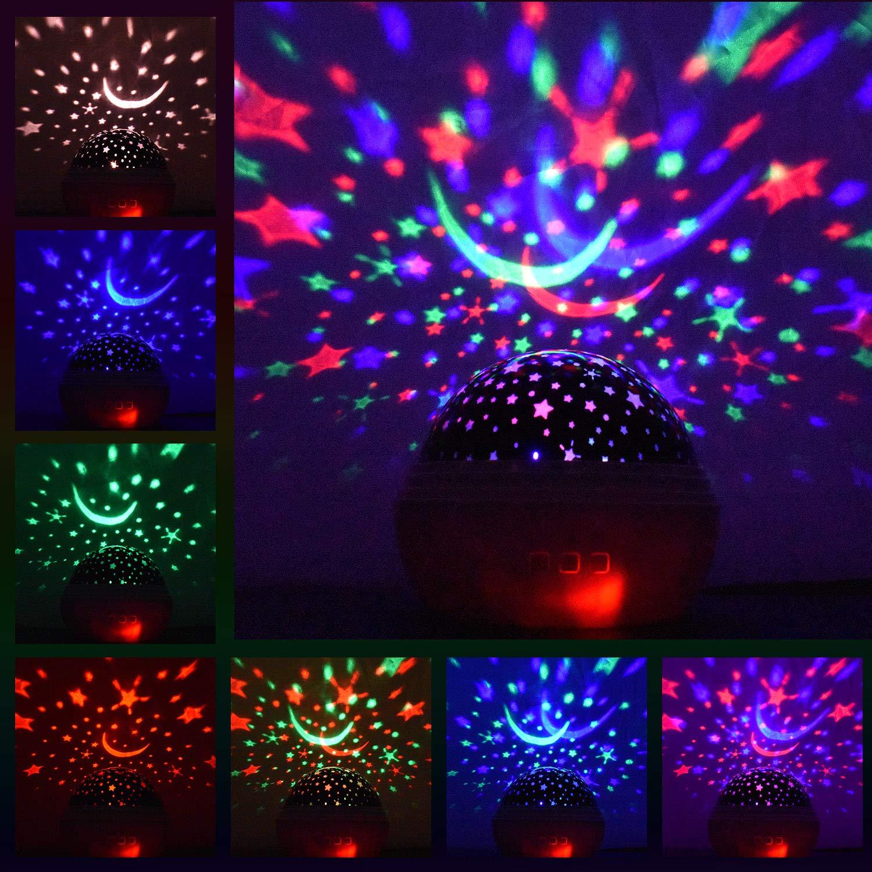 Projecteur oc/éanique Veilleuse rotative pour chambre de b/éb/é Cadeaux pour enfants Cadeau de No/ël pour filles gar/çons 1-10 ans Noir Veilleuse /étoile