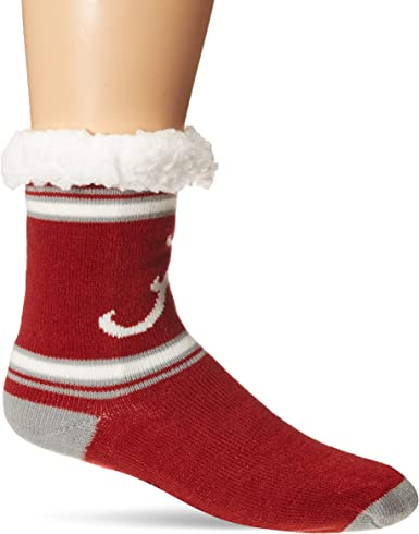 Team Color NCAA Alabama Crimson Tide Stripe Logo Tall Footy Slipper SocksStripe Logo Tall Footy Slipper Socks One Size