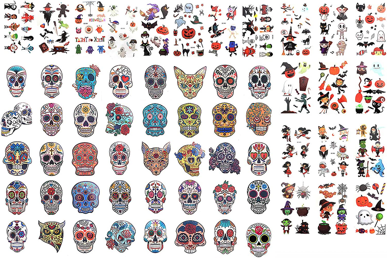 LOYALLOOK Halloween Temporary Tattoos Glitter Red Roses Day of The Dead Sugar Skull Face Tattoo Sticker