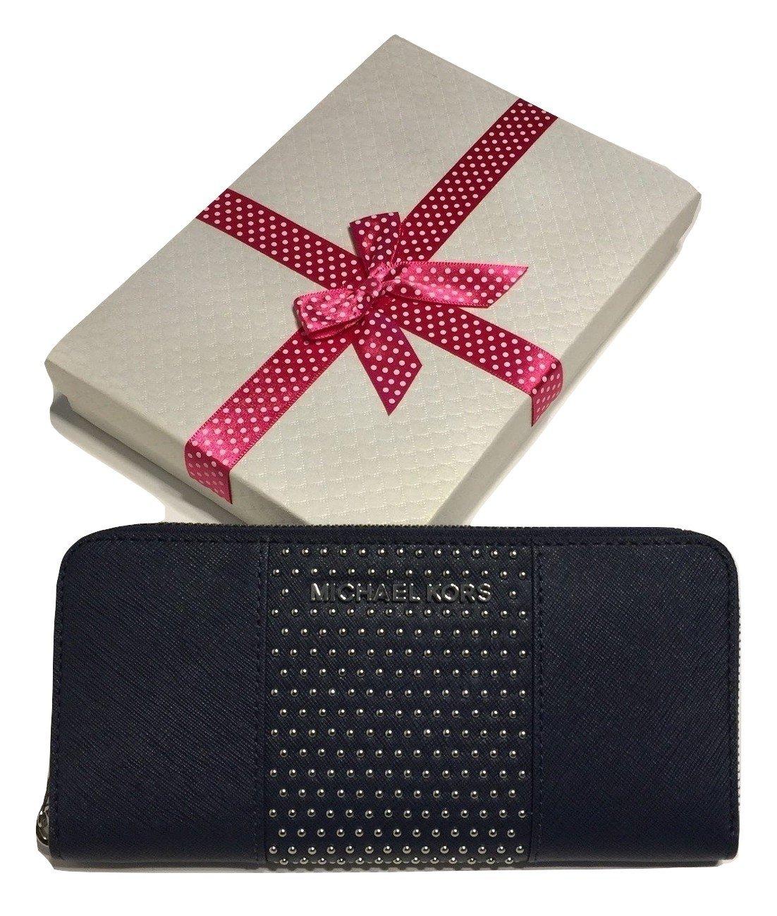 Michael Kors Jet Set Travel ZA Continental Micro Stud Wallet (Navy)