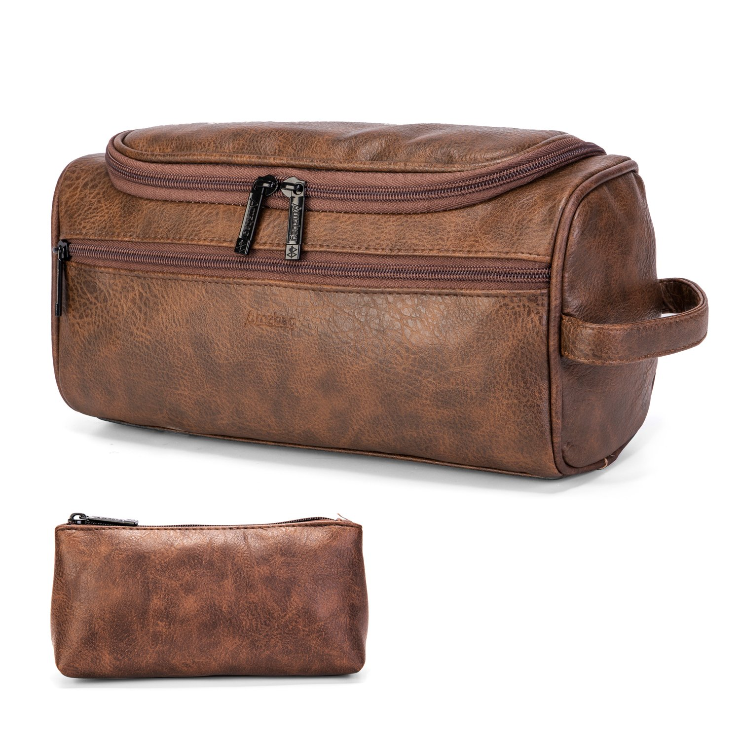b55af6052d66 CoolBELL Leather Toiletry Bag Travel Toiletry Organizer Portable Hanging  Makeup Bag Dopp Kit   Shaving Cosmetic Bag for Men Women (Brown)